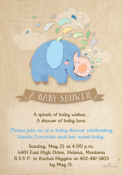 Baby Shower Invitations 5x7 Cards, Premium Cardstock 120lb with Scalloped Corners, Card & Stationery -Cute Stitched Elephants - Blue