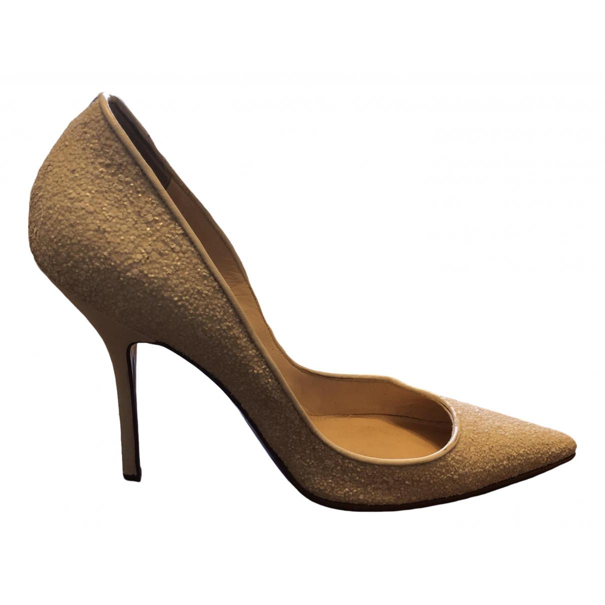 Christian Louboutin \N Ecru Glitter Heels for Women 36.5 EU
