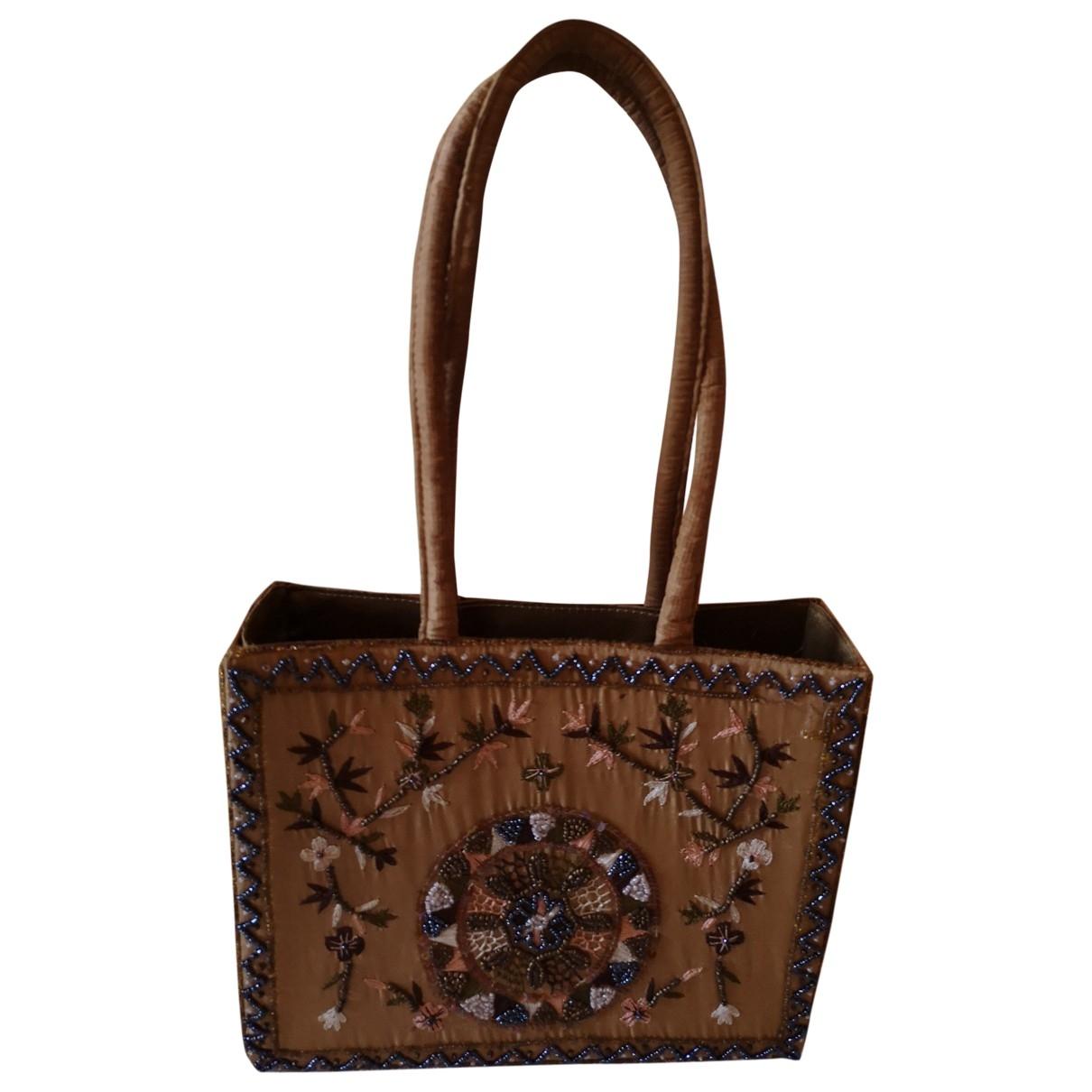 Non Signe / Unsigned Hippie Chic Handtasche in  Gold Seide