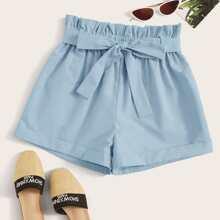 Blau  Mit Guertel  Einfarbig Laessig Shorts