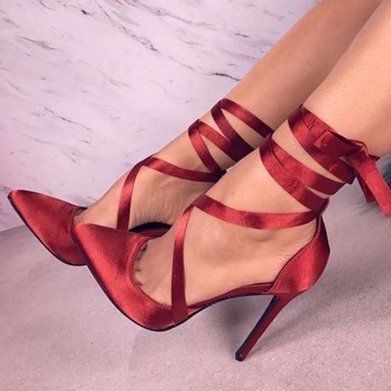 Ericdress Stiletto Heel Pointed Toe Cross Strap Women's Prom Shoes