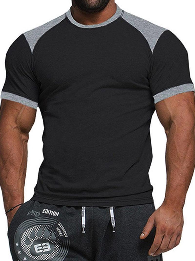 Ericdress Color Block Round Neck Casual Mens Short Sleeve Slim T-shirt