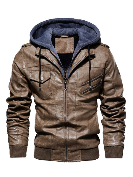 Milanoo Mans Leather Jacket Zipper PU Leather Smart Hooded Jacket