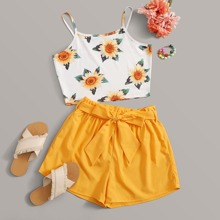 Sunflower Cami & Paperbag Waist Shorts