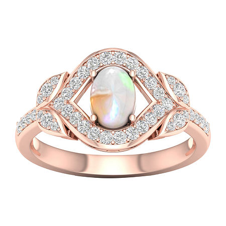 Womens Lab Created Opal 10K Rose Gold Over Silver Halo Cocktail Ring, 7 1/2 , No Color Family