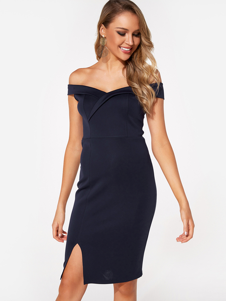 Yoins Navy Backless Design Plain Off The Shoulder Sleeveless Slit Hem Dress