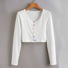 Colorful Buttons Rib Top