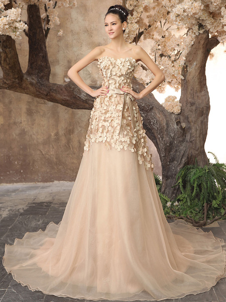 Milanoo Hot 2014 Champagne Organza Sweetheart Train Wedding Dress