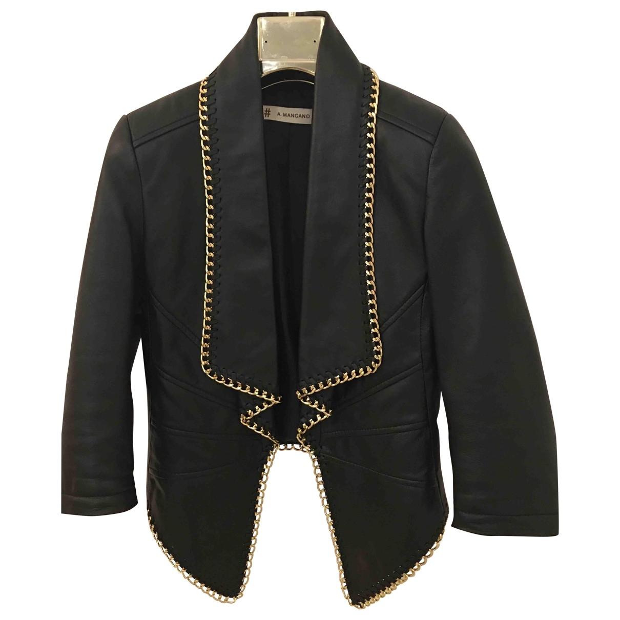 Mangano - Veste   pour femme en cuir - noir