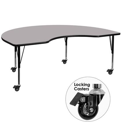XU-A4896-KIDNY-GY-T-P-CAS-GG Mobile 48W x 96L Kidney Shaped Activity Table with Grey Thermal Fused Laminate Top and Height Adjustable Pre-School