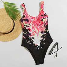 Flame Print Scoop Neck One Piece Swimsuit