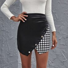 Houndstooth Print Asymmetrical Hem Zipper Back Skirt