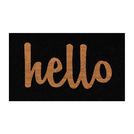Script Hello Rectangular Outdoor Doormat, One Size , Black