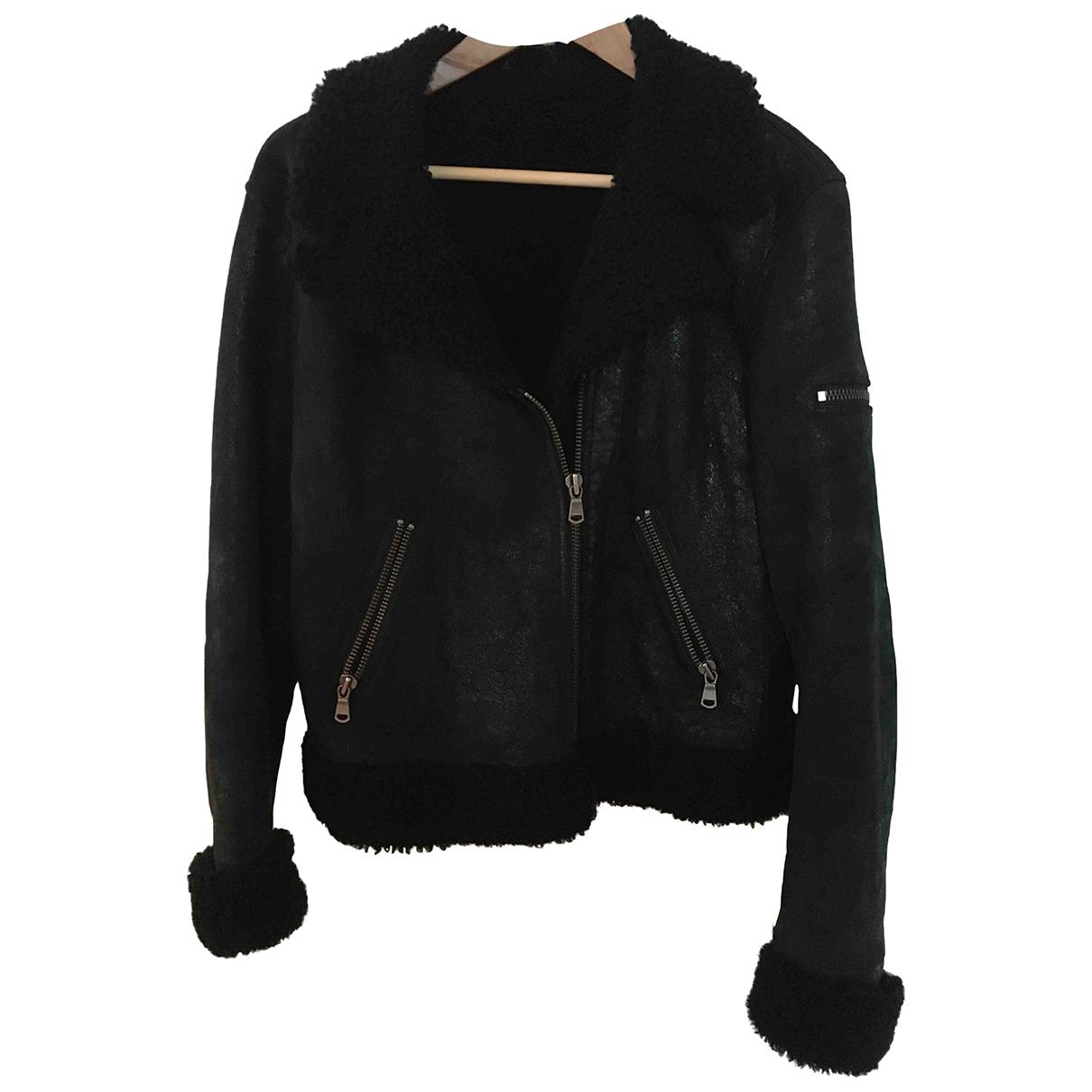 Gerard Darel \N Black Shearling Leather jacket for Women 40 FR