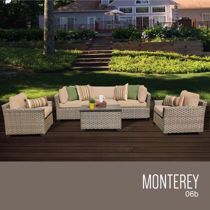 MONTEREY-06b-WHEAT Monterey 6 Piece Outdoor Wicker Patio Furniture Set 06b with 2 Covers: Beige and