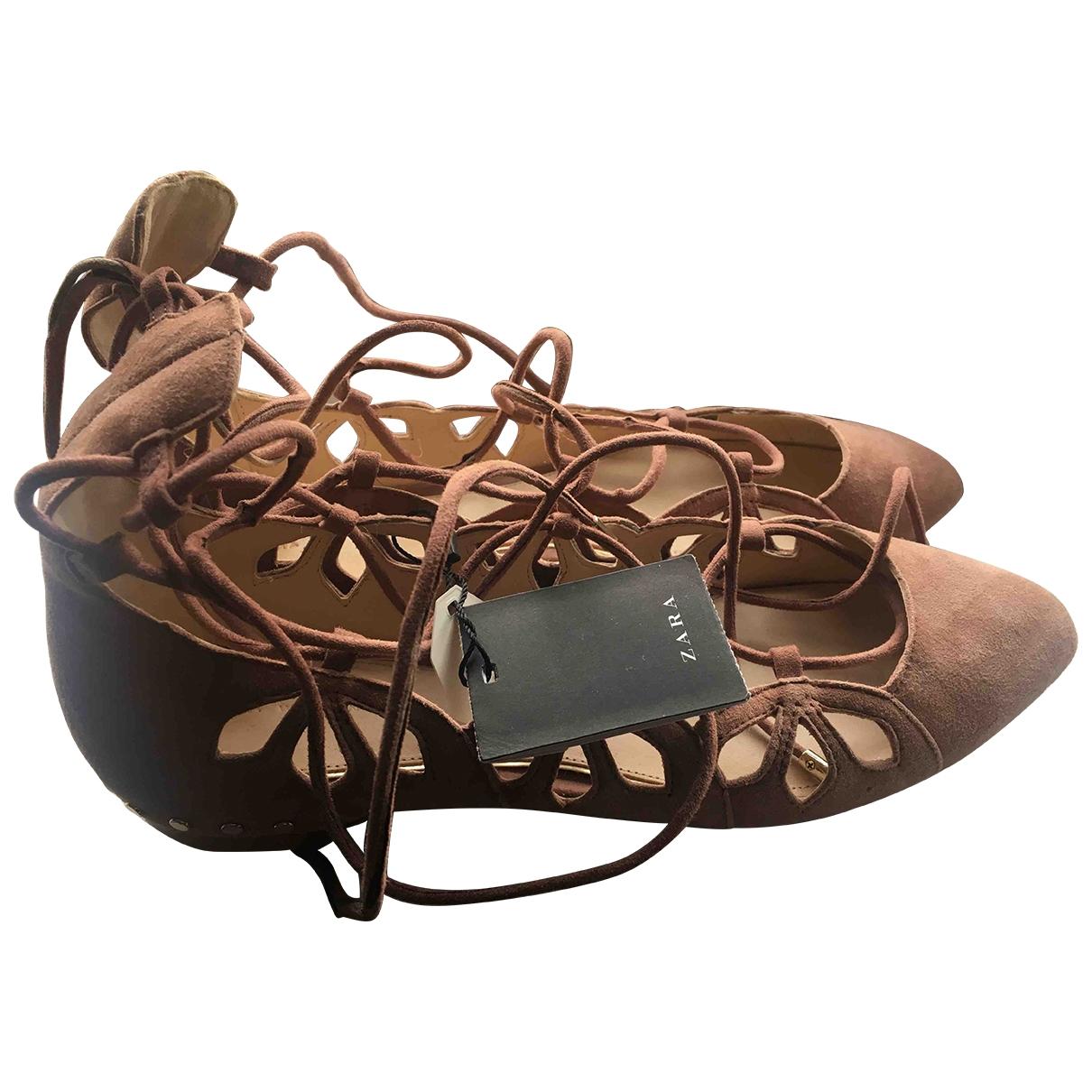 Zara \N Pink Suede Ballet flats for Women 38 EU