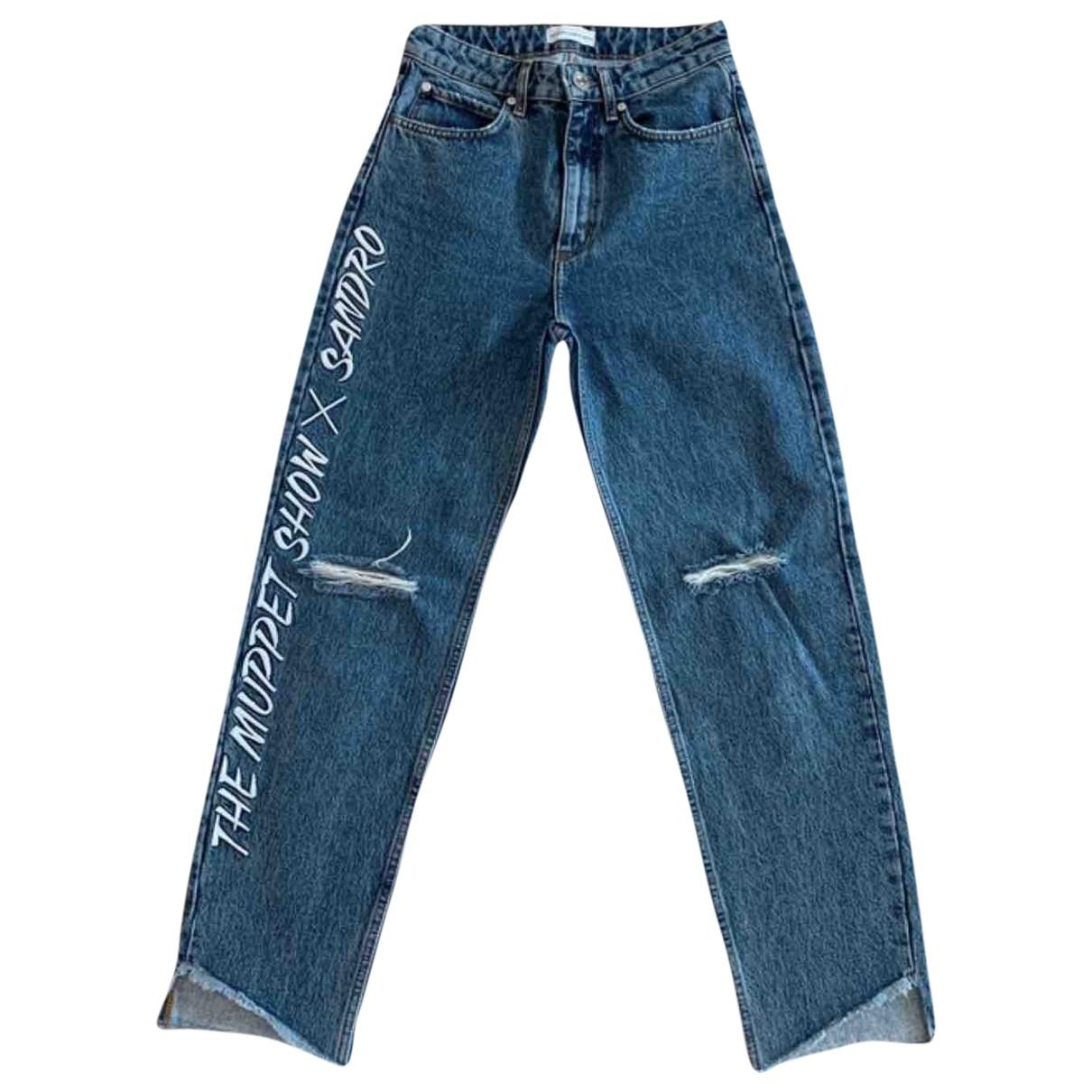 Sandro \N Blue Cotton Jeans for Women 36 FR