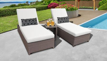 Florence Collection FLORENCE-W-2x-ST-WHITE Patio Set with 2 Chaise with Wheels  1 Side Table - Grey and White