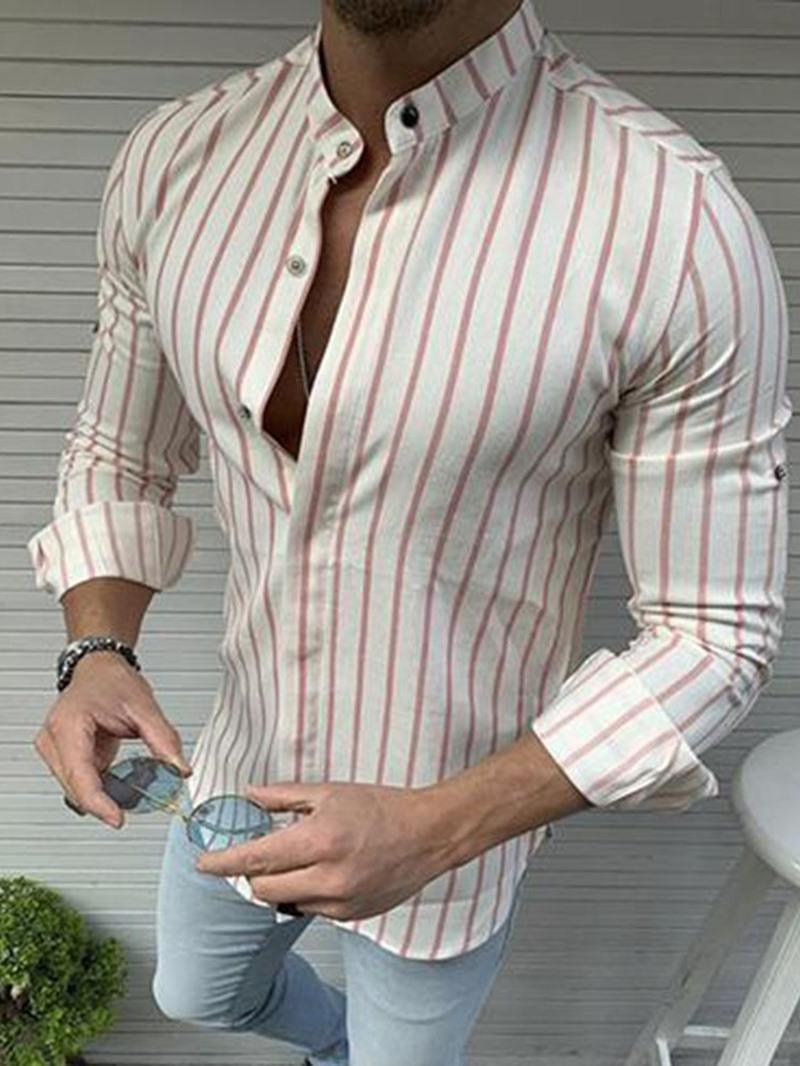 Ericdress European Stripe Stand Collar Fall Slim Shirt