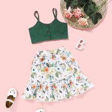 Toddler Girls Button Front Cami Top With Floral Skirt