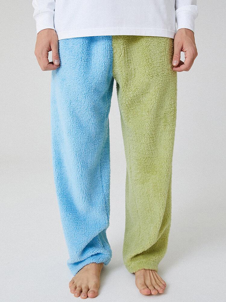 Mens Colorblock Fleece Pajamas Bottoms Flannel Warm Heated Loose Casual Homewear Pants
