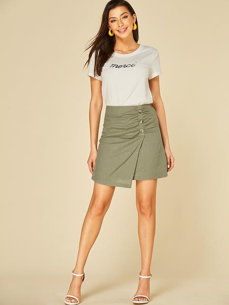 YOINS Army Green Button Design Mini Skirt