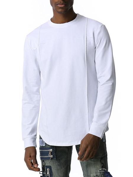Milanoo Men\'s Shirts Jewel Neck Long Sleeves Casual Black Slim Fit Shirt