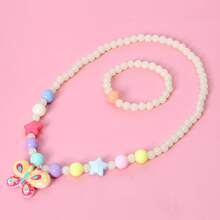 2pcs Girls Butterfly Beaded Jewelry Set