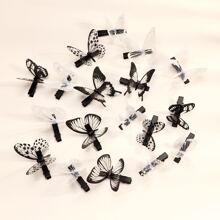 18pcs Toddler Girls Butterfly Decor Hair Clip
