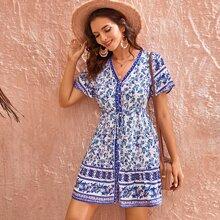 Button Through Drawstring Waist Floral A-Line Short Dress