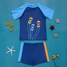 Boys Color Block Car Print Swimsuit