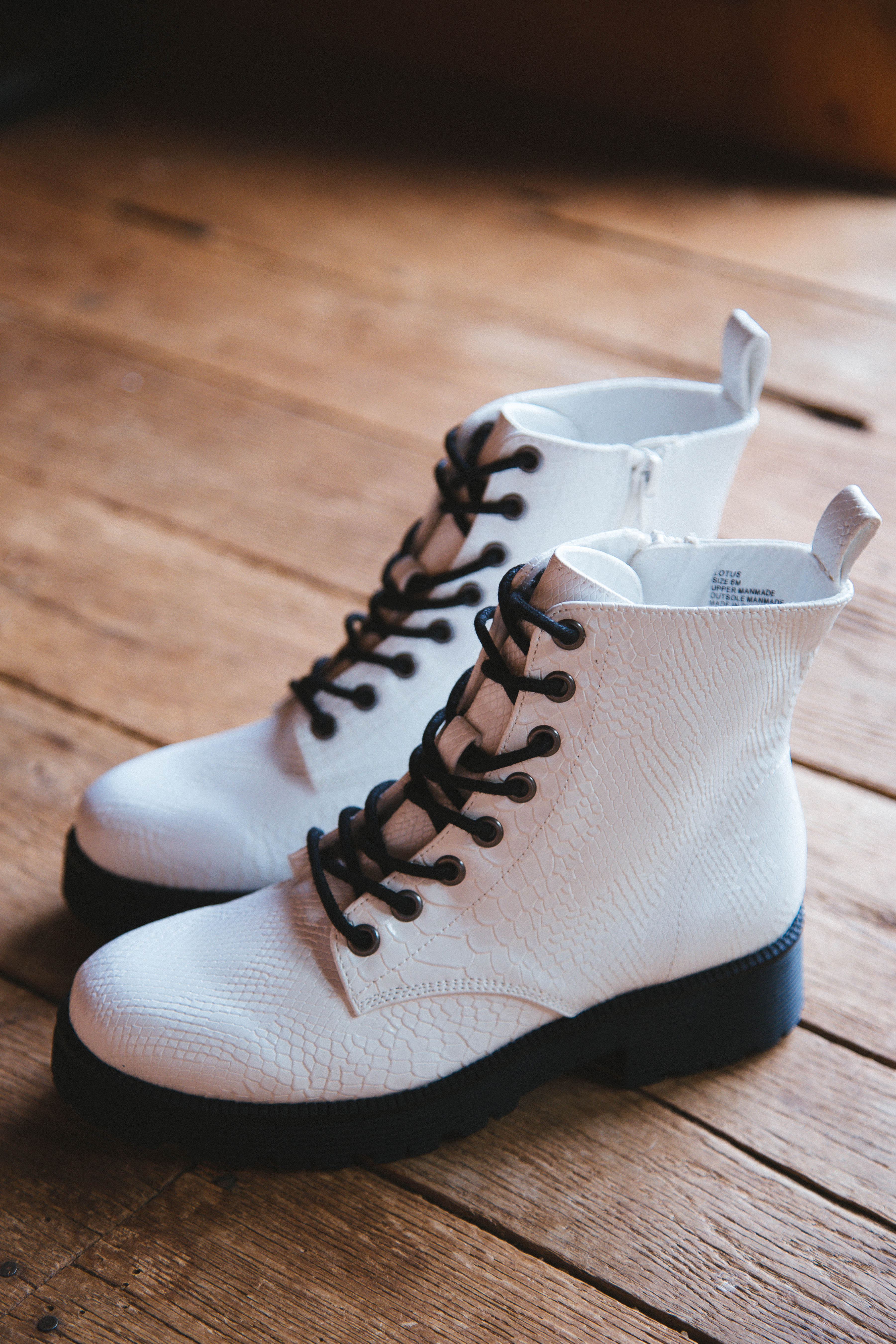 Lotus Lace Up Combat Boot White | Coconuts by Matisse