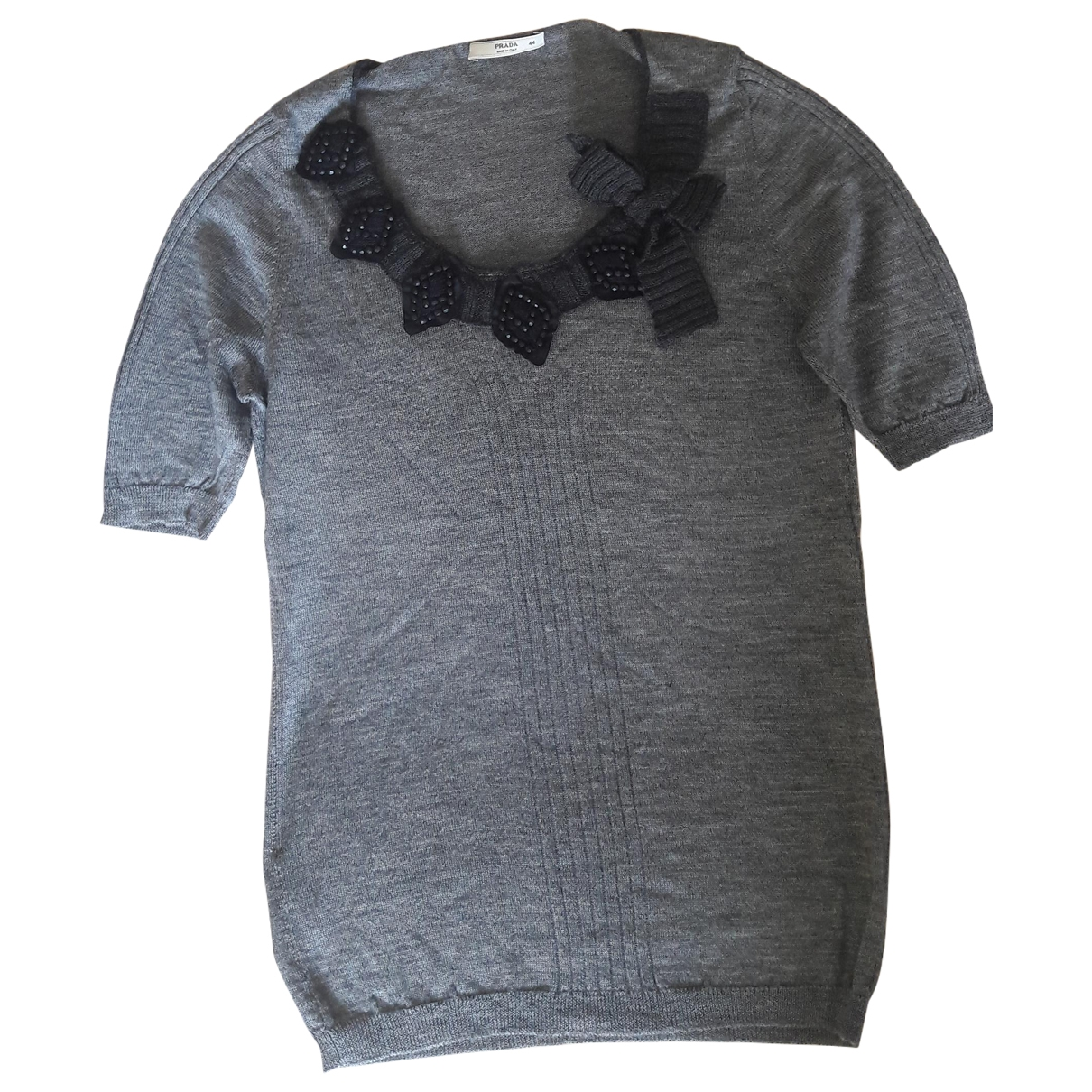Prada - Top   pour femme en laine - anthracite