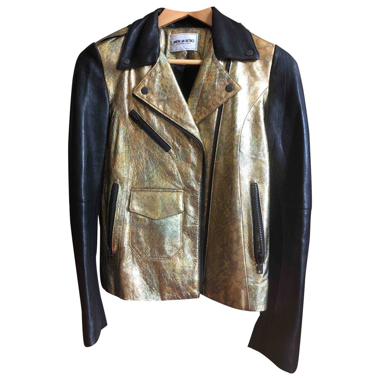 American Retro \N Gold Leather Leather jacket for Women 34 FR