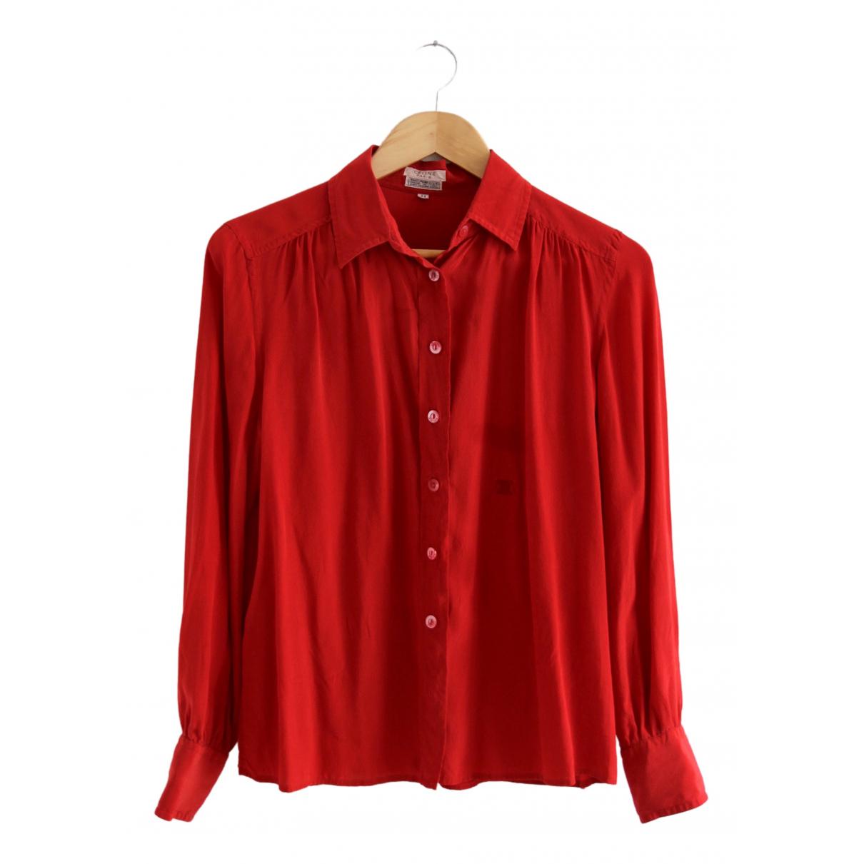 Celine - Top   pour femme en soie - rouge