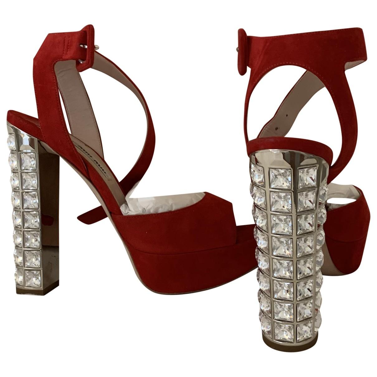 Miu Miu - Sandales   pour femme en suede - rouge