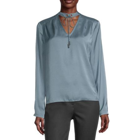 Worthington Womens Round Neck Long Sleeve Blouse, Large , Blue