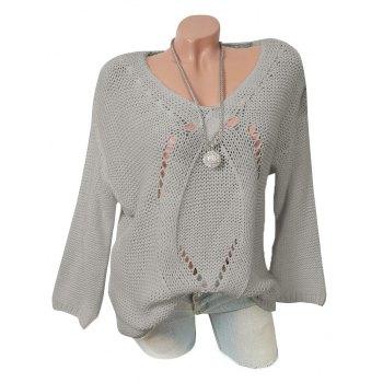 V Neck Pointelle Knit Plus Size Tunic Sweater