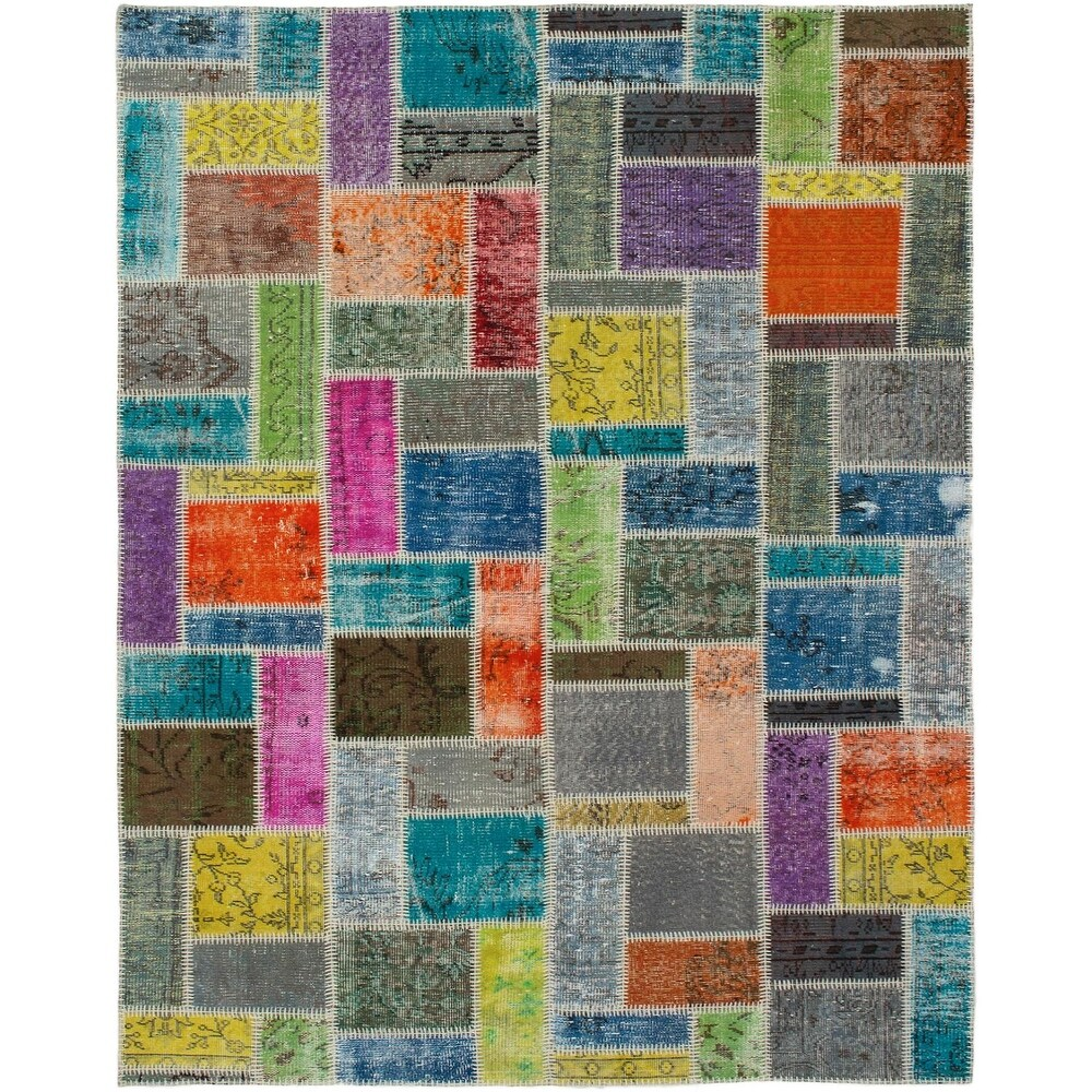 ECARPETGALLERY Hand-knotted Color Transition Patchwork Multi Wool Rug - 5'8 x 7'10 (Multi Color - 5'8 x 7'10)