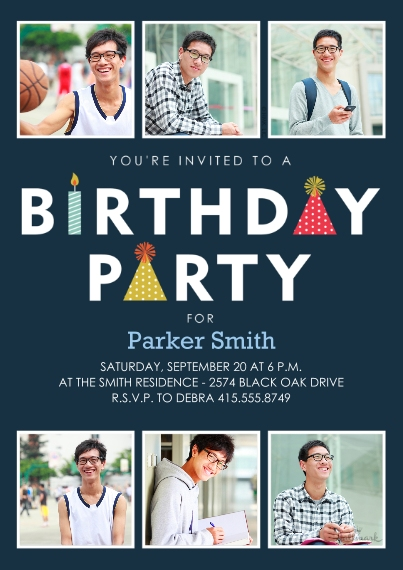 Birthday Party Invites 5x7 Cards, Premium Cardstock 120lb with Elegant Corners, Card & Stationery -Birthday Party Icons