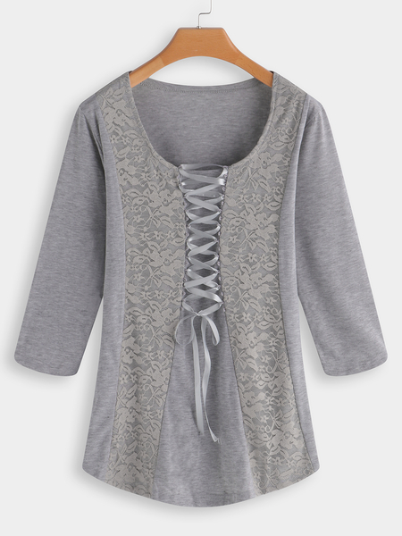 Yoins Grey Lace Patchwork Scoop Neck Lace up 3/4 Length Sleeves T-shirts