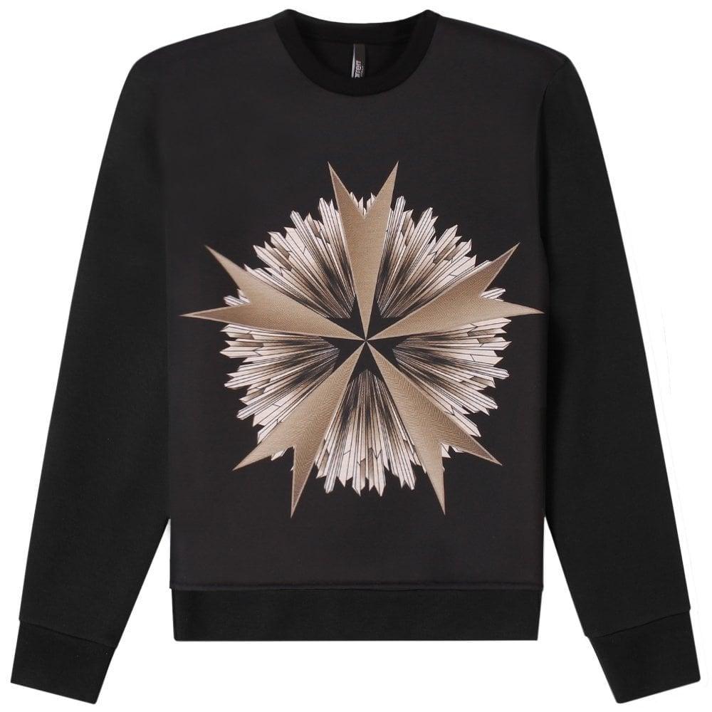 Neil Barrett Military Star Print Sweatshirt Black Colour: BLACK, Size: MEDIUM