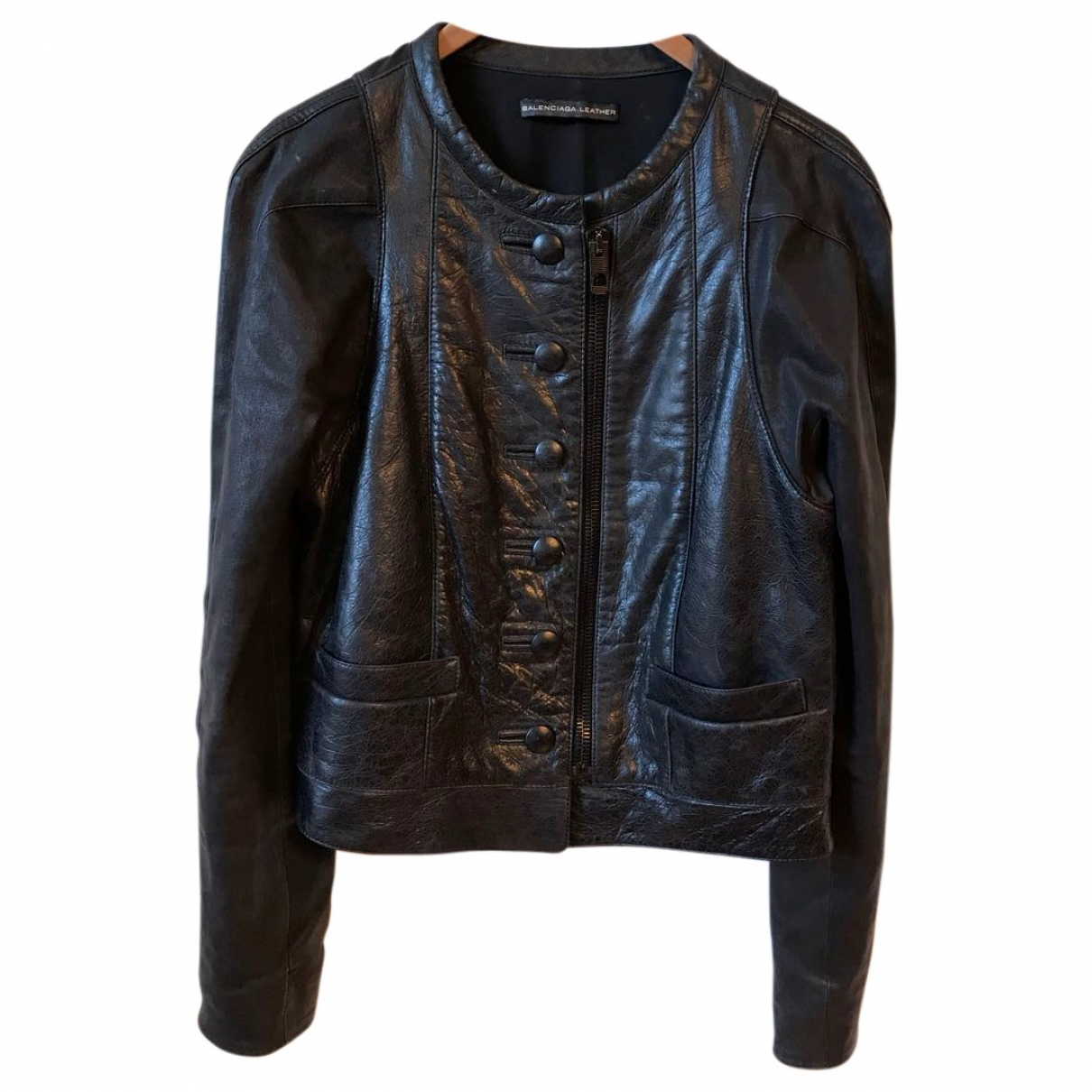 Balenciaga N Anthracite Leather jacket for Women 42 IT