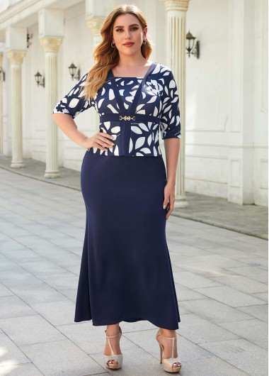 Faux Two Piece Printed Plus Size Dress - 3XL