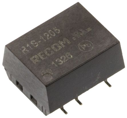 Recom R1S 1W Isolated DC-DC Converter Surface Mount, Voltage in 10.8 → 13.2 V dc, Voltage out 5V dc