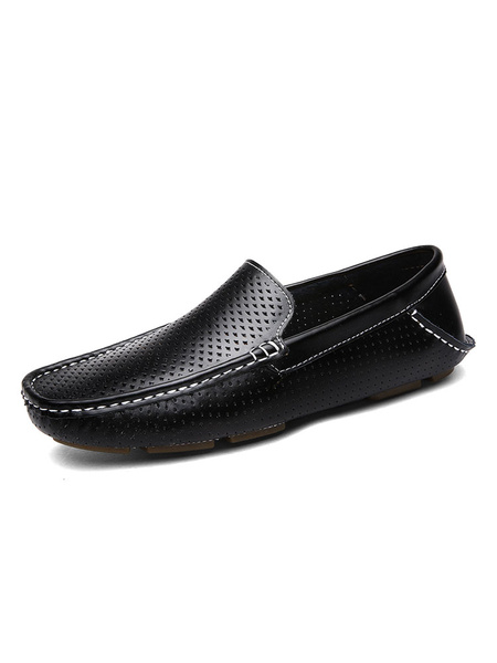 Milanoo Mens Black Breathable Moccasin Loafers Slip-On Driving Shoes