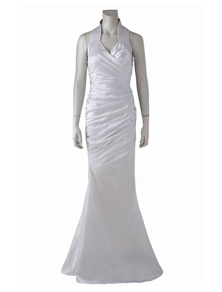 Milanoo Final Fantasy XV Video Game Lunafrena Nox Fleuret White Satin Cosplay Costume Dress