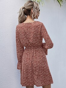Allover Print Belted A-Line Dress