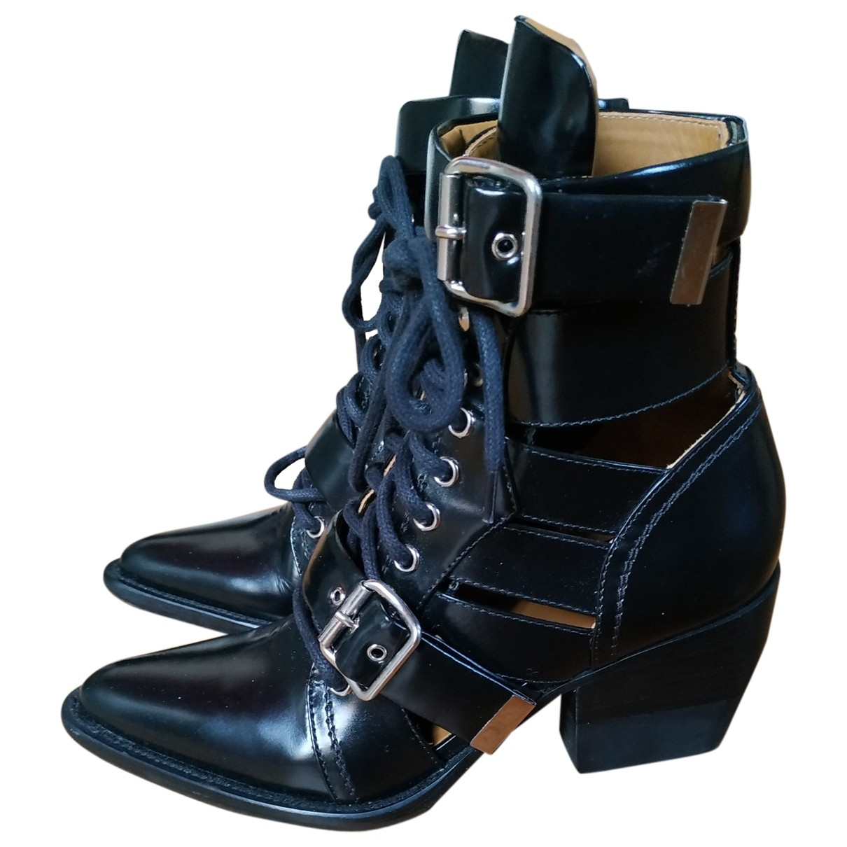 Chloé Rylee Black Leather Ankle boots for Women 37 EU