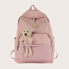 Girls Cartoon Bear Decor Backpack
